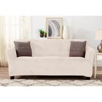 Sofa Saver Velvet Strapless Sofa Slipcover in Cappuccino