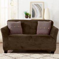 Sofa Saver Velvet Strapless Loveseat Slipcover in Brown