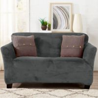 Sofa Saver Velvet Strapless Loveseat Slipcover in Dove Grey