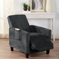 Sofa Saver Velvet Gale Strapless Recliner Slipcover in Dark Grey