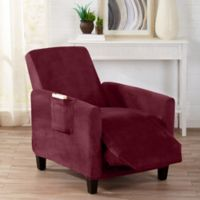 Sofa Saver Velvet Gale Strapless Recliner Slipcover in Red
