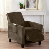 Sofa Saver Velvet Gale Strapless Recliner Slipcover in Brown