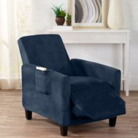 Sofa Saver Velvet Gale Strapless Recliner Slipcover in Dark Denim