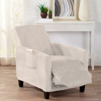 Sofa Saver Velvet Gale Strapless Recliner Slipcover in Cappuccino