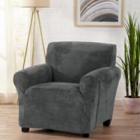 Sofa Saver Velvet Gale Strapless Chair Slipcover in Dove Grey