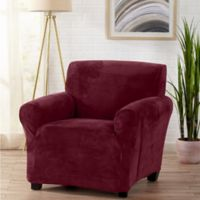 Sofa Saver Velvet Gale Strapless Chair Slipcover in Red