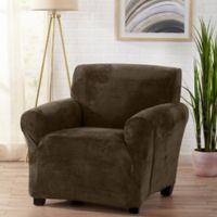 Sofa Saver Velvet Gale Strapless Chair Slipcover in Brown