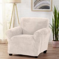 Sofa Saver Velvet Gale Strapless Chair Slipcover in Cappuccino