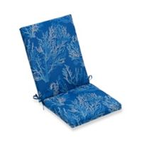 Print Indoor Outdoor Folding Wicker Chair Cushion In Cobalt Sea Coral