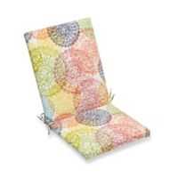 Print Indoor/Outdoor Folding Wicker Chair Cushion in Multicolor Doily