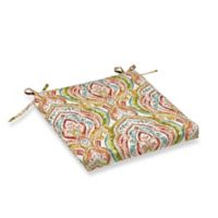 Print Outdoor Square Bistro Cushion in Red Multi