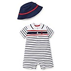 Little Me Size 3M 2-Piece Anchor Stripe Romper and Hat Set in Navy