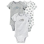 carter's® Size 3M 3-Pack Elephant Short Sleeve Bodysuits in Grey