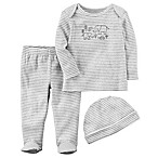 carter's® Size 3M 3-Piece Take-Me-Home Elephant Shirt, Pant, and Hat Set in Grey