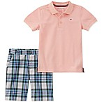 Tommy Hilfiger® Size 3-6M 2-Piece Polo Shirt and Plaid Short Set in Pink