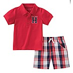 Tommy Hilfiger® Size 6-9M 2-Piece Plaid T-Shirt and Short Set in Red/Navy