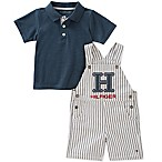 Tommy Hilfiger® Size 3-6M 2-Piece Polo Shirt and Ticking Stripe Shortall Set in White/Navy
