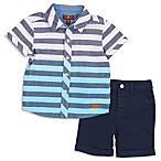 7 For All Mankind® Size 12M 2-Piece Button-Up Striped Shirt and Shorts Set in Blue