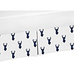 Sweet Jojo Designs Woodland Deer Crib Skirt in Navy/White