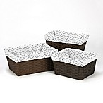 Sweet Jojo Designs Mod Dinosaur Chevron Prehistoric Print Basket Liners in Grey/White (Set of 3)