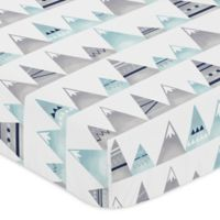 Sweet Jojo Designs Mountains Fitted Crib Sheet in Grey/Aqua