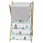 Sweet Jojo Designs Mountains Laundry Hamper in Grey/Aqua