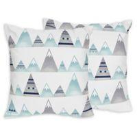 Sweet Jojo Designs Mountains Throw Pillows in Grey/Aqua (Set of 2)