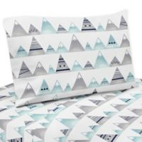 Sweet Jojo Designs Mountains 3-Piece Twin Sheet Set in Grey/Aqua