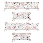 Sweet Jojo Designs Watercolor Floral 4-Piece Crib Bumper Set in Pink/Grey