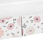 Sweet Jojo Designs Watercolor Floral Crib Skirt in Pink/Grey