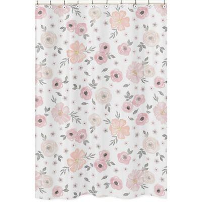 Sweet Jojo Designs Watercolor Floral Shower Curtain In Pink Grey