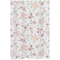 Sweet Jojo Designs Watercolor Floral Shower Curtain in Pink/Grey