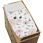 Sweet Jojo Designs Watercolor Floral Changing Pad Cover in Pink/Grey