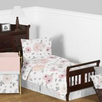 Sweet Jojo Designs Watercolor Floral 5-Piece Toddler Bedding Set in Pink/Grey