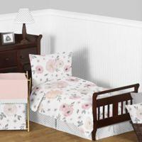 Sweet Jojo Designs Watercolor Floral 5-Piece Toddler Bedding Set in Pink/Grey