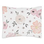 Sweet Jojo Designs Watercolor Floral Standard Pillow Sham in Pink/Grey