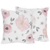 Sweet Jojo Designs® Watercolor Floral Throw Pillows in Pink/Grey (Set of 2)