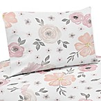 Sweet Jojo Designs Watercolor Floral 4-Piece Queen Sheet Set in Pink/Grey