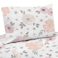 Sweet Jojo Designs Watercolor Floral 3-Piece Twin Sheet Set in Pink/Grey
