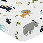 Sweet Jojo Designs Mod Jungle Safari Animal Print Fitted Crib Sheet