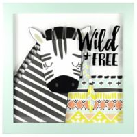 """Linden Ave """"Wild and Free"""" 12-Inch Square Shadow Box Wall Art in Black/Yellow"""