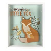 "Linden Ave ""Stay Clever Little Fox"" 8-Inch x 10-Inch Shadow Box Wall Art in Blue/Orange"