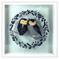 Linden Ave Owls on Branch 10-Inch Square Shadow Box Wall Art in Blue/Black
