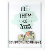 """Linden Ave """"Let Them Be Little"""" 11-Inch X 14-Inch Shadow Box Wall Art in Blue/White"""