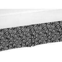 Sweet Jojo Designs Kaylee Scroll Print Crib Skirt in Black/White