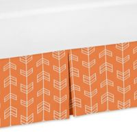 Sweet Jojo Designs Arrow Print Crib Skirt in Orange/White