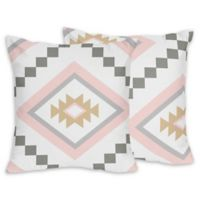 Sweet Jojo Designs Aztec Throw Pillows in Pink/Grey (Set of 2)
