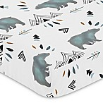Sweet Jojo Designs Bear Mountain Fitted Crib Sheet in Blue/Black