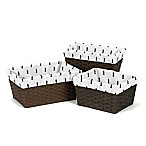 Sweet Jojo Designs Bear Mountain Triangle Tree Print Basket Liners in Black/White (Set of 3)