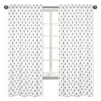 Sweet Jojo Designs Bear Mountain Triangle Tree Print 84-Inch Window Panels in Black/White (Set of 2)